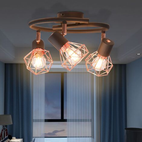 Hommoo Ceiling Lamp with 3 Spotlights E14 Black and Copper QAH10499