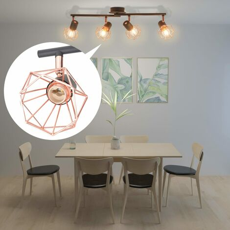 Hommoo Ceiling Lamp with 4 Spotlights E14 Black and Copper QAH10500