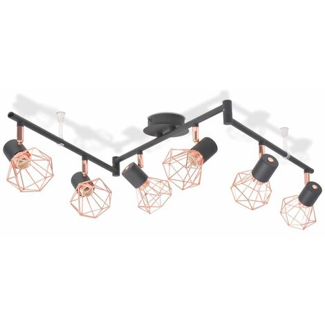 Hommoo Ceiling Lamp with 6 Spotlights E14 Black and Copper QAH10501