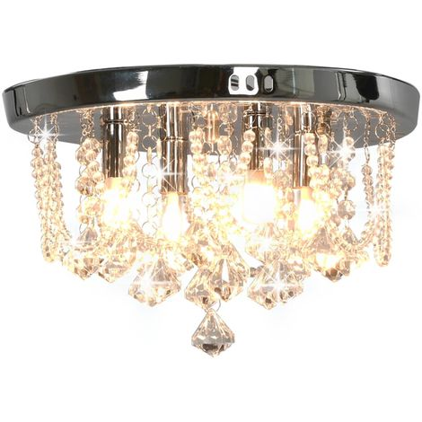 Hommoo Ceiling Lamp with Crystal Beads Silver Round 4 x G9 Bulbs