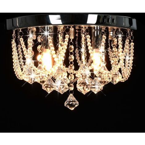 Hommoo Ceiling Lamp with Crystal Beads Silver Round 4 x G9 Bulbs QAH23179