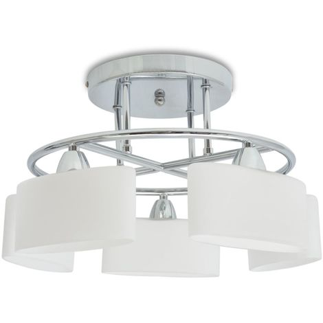 Hommoo Ceiling Lamp with Ellipsoid Glass Shades for 5 E14 Bulbs 200 W