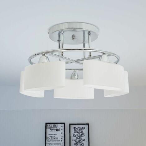 Hommoo Ceiling Lamp with Ellipsoid Glass Shades for 5 E14 Bulbs 200 W QAH30406