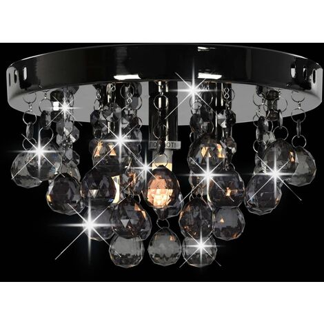 Hommoo Ceiling Lamp with Smoky Beads Black Round G9 QAH23178