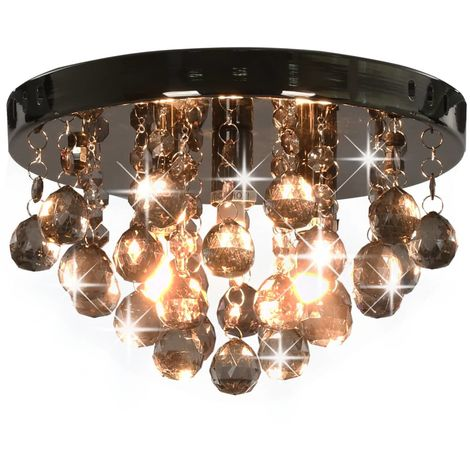 Hommoo Ceiling Lamp with Smoky Beads Black Round G9 VD23178