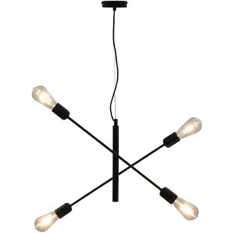 Hommoo Ceiling Light with Filament Bulbs 2 W Black E27