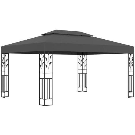 Hommoo Cenador con doble techo gris antracita 3x4 m