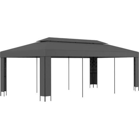 Hommoo Cenador con doble techo gris antracita 3x6 m
