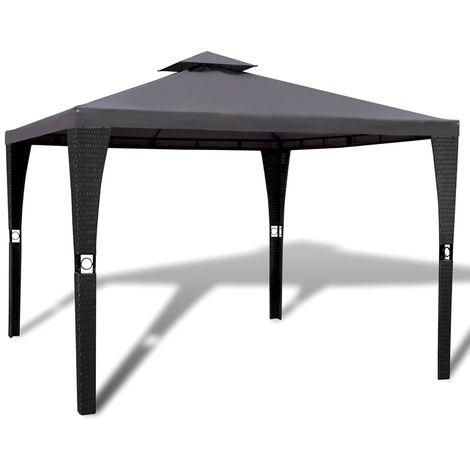 Hommoo Cenador con tejado 3x3 m gris oscuro