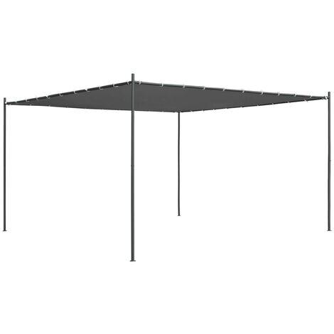 Hommoo Cenador con tejado plano gris antracita 4x4x2,4 m