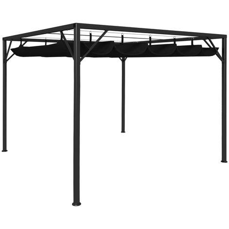 Hommoo Cenador de jardín con tejado retráctil gris antracita 3x3 m