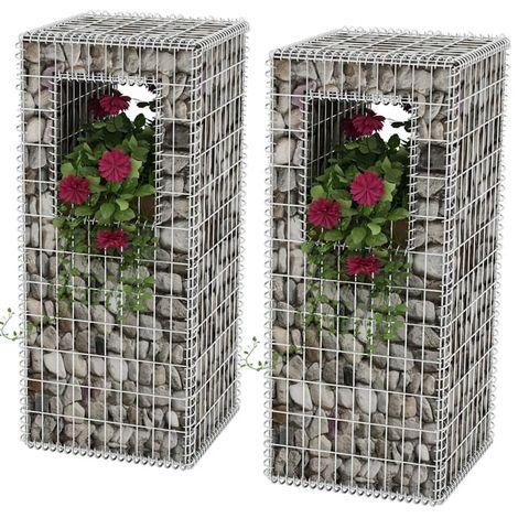Hommoo Cesta poste/jardinera de gaviones 2 unidades acero 50x50x120 cm