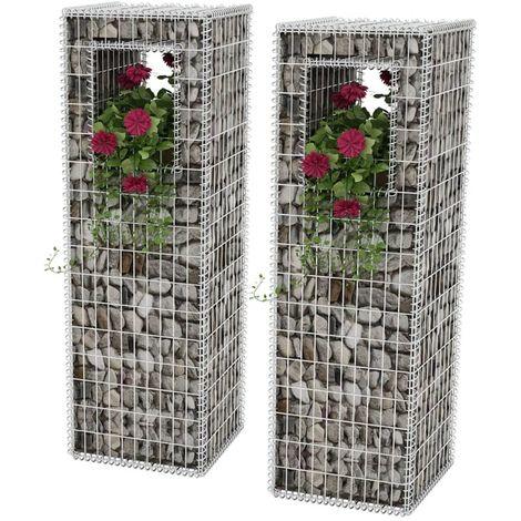 Hommoo Cesta poste/jardinera de gaviones 2 unidades acero 50x50x160 cm