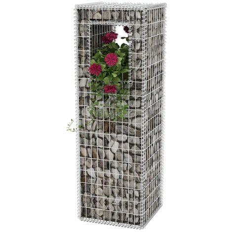 Hommoo Cesta poste/jardinera de gaviones de acero 50x50x160 cm