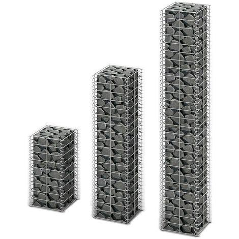 Hommoo Cestas de muro de gaviones alambre galvanizado 3 unidades