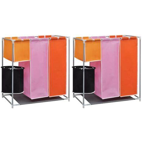 Hommoo Cesto de ropa sucia 2 unidades 3 secciones con cubo de lavado