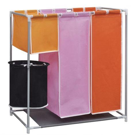 Hommoo Cesto de ropa sucia 3 secciones con cubo de lavado