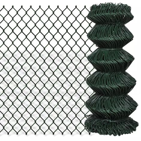 Hommoo Chain Link Fence Galvanised Steel 0.8x15 m Green VD03517