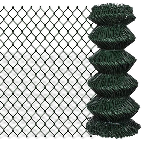 Hommoo Chain Link Fence Galvanised Steel 0.8x25 m Green VD03522