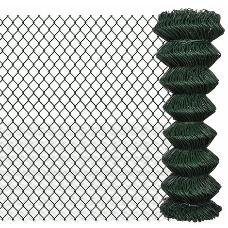 Hommoo Chain Link Fence Galvanised Steel 1.25x15 m Green VD03519