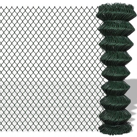 Hommoo Chain Link Fence Galvanised Steel 1.5x25 m Green VD03525