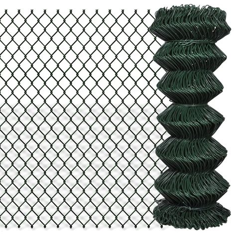Hommoo Chain Link Fence Galvanised Steel 1x25 m Green VD03523