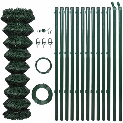 Hommoo Chain Link Fence with Posts Galvanised Steel 0.8x25 m Green QAH03530