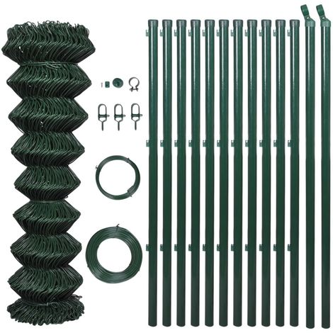 Hommoo Chain Link Fence with Posts Galvanised Steel 1.25x25 m Green VD03532