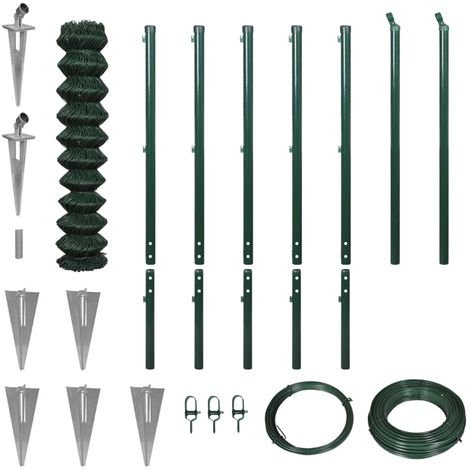 Hommoo Chain Link Fence with Spike Anchors 1.97x15 m Green VD04543