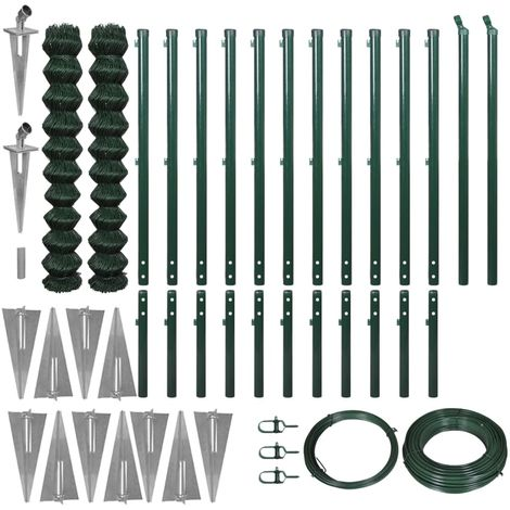 Hommoo Chain Link Fence with Spike Anchors 1.97x25 m Green VD04544