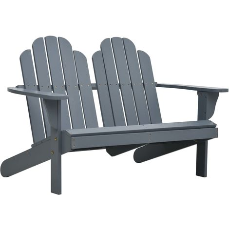 Hommoo Chaise Adirondack double Bois Gris