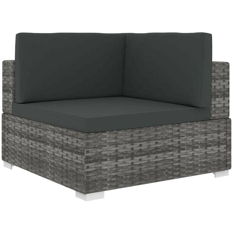 Chaise d'angle sectionnelle avec coussins Résine tressée Gris HDV30141 - Hommoo