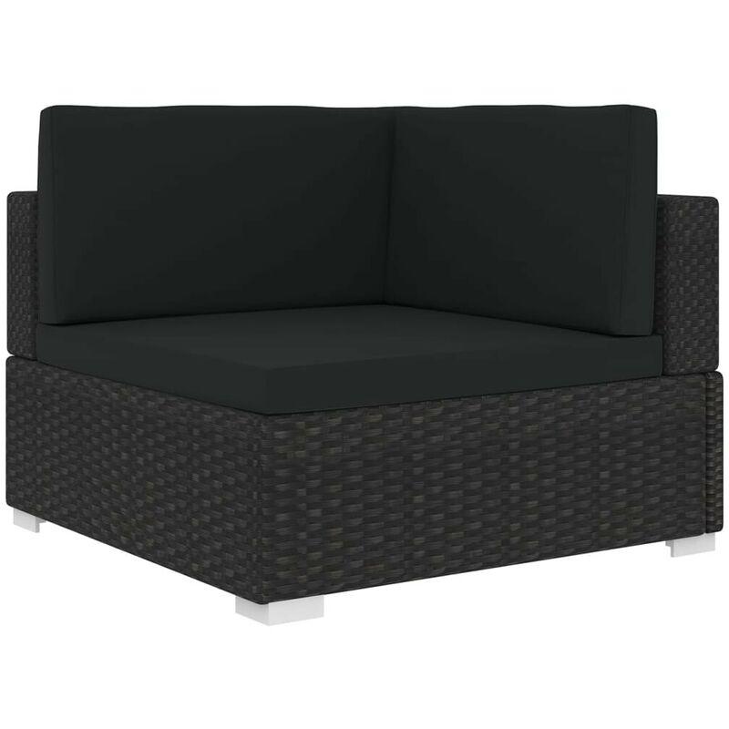 Chaise d'angle sectionnelle avec coussins Résine tressée Noir HDV30142 - Hommoo