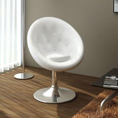 Hommoo Chaise de bar Blanc Similicuir