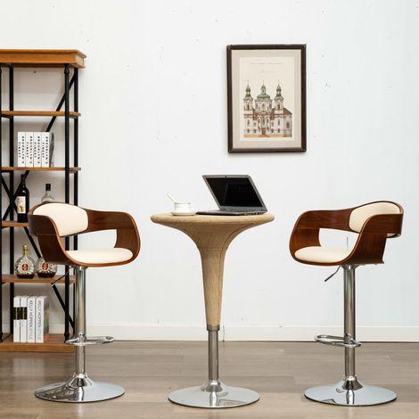 Hommoo Chaise de bar Crème Bois courbé et similicuir