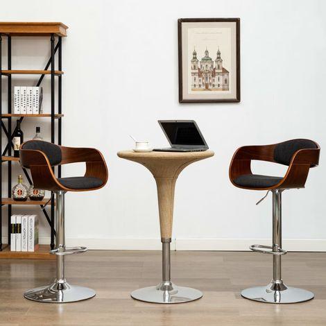 Hommoo Chaise de bar Gris Bois courbé et tissu