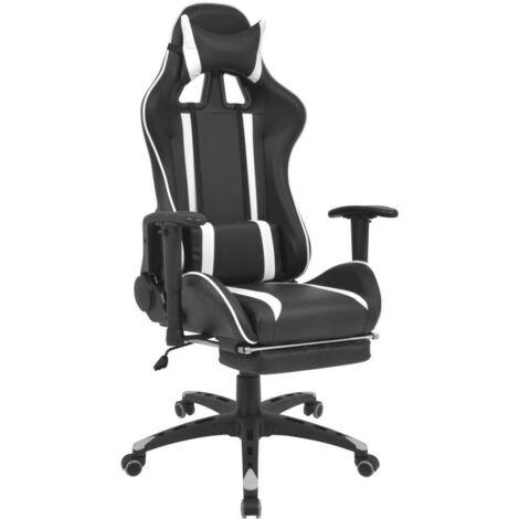 Hommoo Chaise de bureau inclinable avec repose-pied Blanc HDV07463
