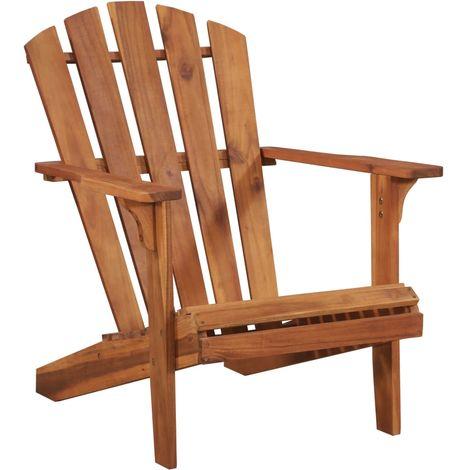 Hommoo Chaise de jardin Adirondack Bois d'acacia massif