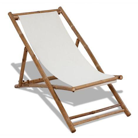 Hommoo Chaise de terrasse Bambou et toile