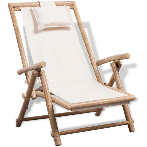 Hommoo Chaise de terrasse d'extérieur Bambou