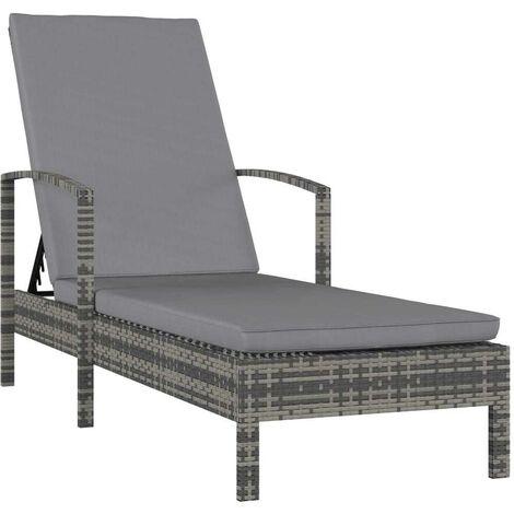 Hommoo Chaise longue avec accoudoirs Résine tressée Gris HDV30286
