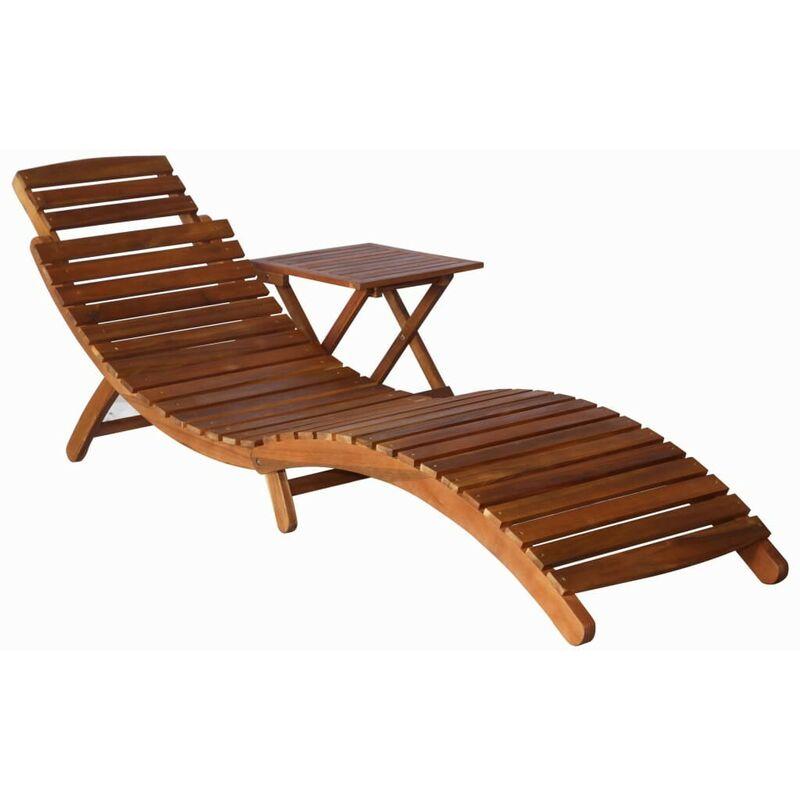Hommoo Chaise longue avec table Bois d'acacia massif Marron HDV30062