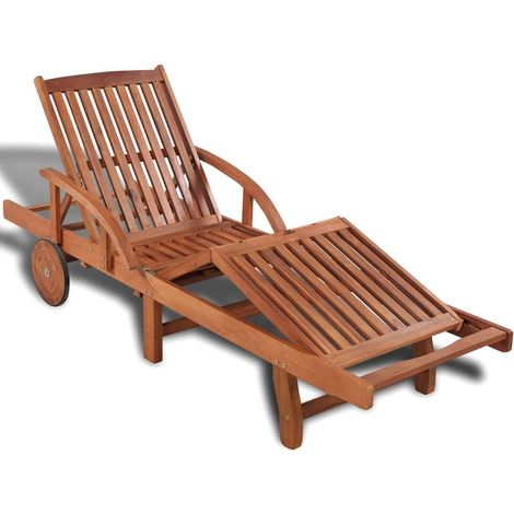 Hommoo Chaise longue Bois d'acacia solide