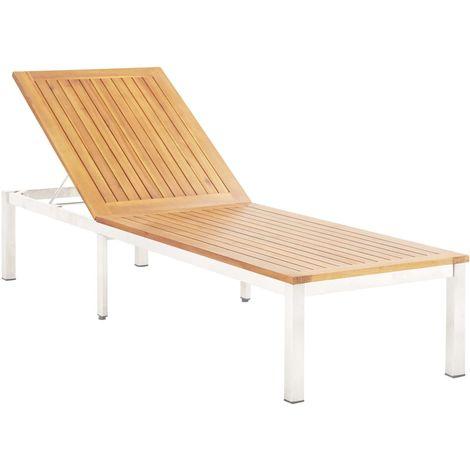 Hommoo Chaise longue Bois d'acacia solide et acier inoxydable