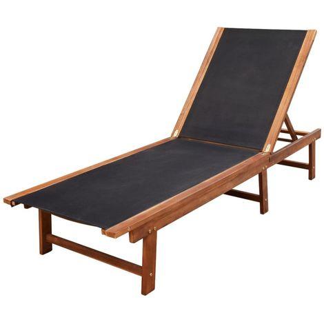 Hommoo Chaise longue Bois d'acacia solide et textilène