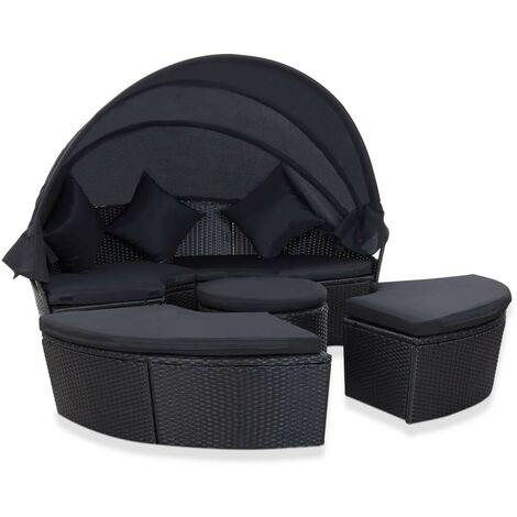 Hommoo Chaise longue de jardin avec auvent Résine tressée Noir HDV48747