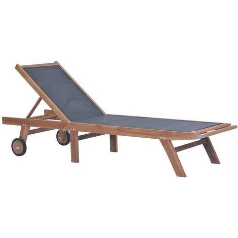 Hommoo Chaise longue pliable avec roulettes Teck massif et textilène HDV28856
