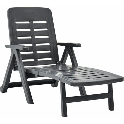 Hommoo Chaise longue pliable Plastique Anthracite HDV46648