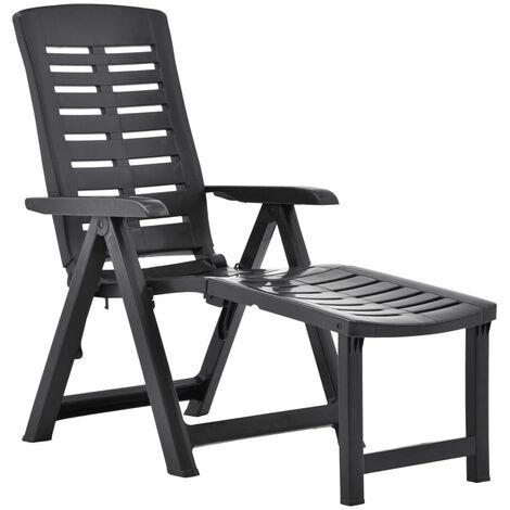 Hommoo Chaise longue pliable Plastique Anthracite HDV46651