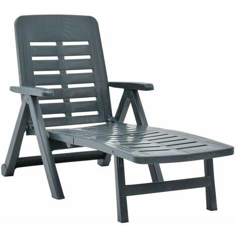 Hommoo Chaise longue pliable Plastique Vert HDV46647
